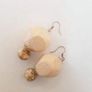 Wood & Marble Beige Bead Earrings